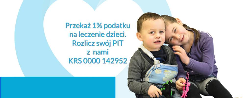 przekaż jeden procent podatku na rehabilitację dzieci, rozlicz swój PIT razem z nami, krs 000142952, od 16 lat pomagamy dzieciom i dorosłym w rehabilitacji splotu ramiennego.