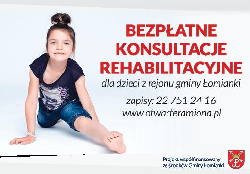 bezpłatna rehabilitacja dla dzieci z gminy Łomianki