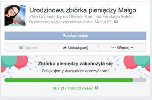 zbiórka pieniedzy na facebooku